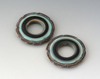 Rustic Ruffle Discs - (2) Handmade Lampwork Beads - Black, Mint