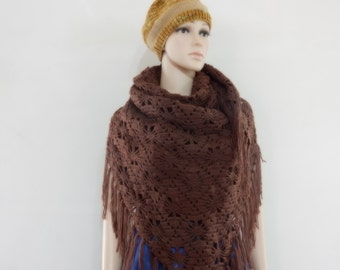 Crochet shawl in Brown