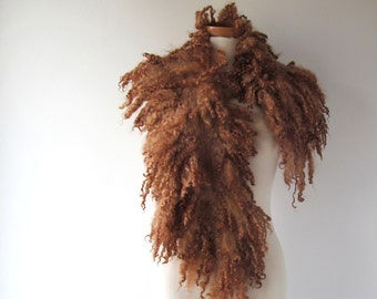 RESERVED Fur collar Curly Felted collar Brown felt collar  Brown Beige Fur scarf  Pure Wool Fleece real fur scarf Felt necklace