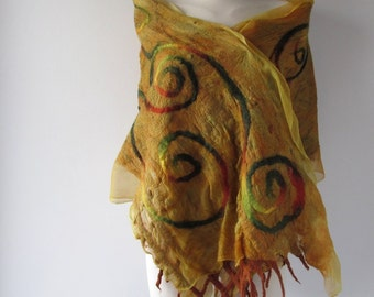 Nuno felted Scarf  Yellow  Silk Wool  scarf Brown Mustard felt stole Silk Women Shawl Yellow silk shawl Wool shawl