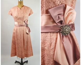 1950s Lace Henry-Lee Dress - Pink and Mauve 50s Dress - Pink Lace Dress