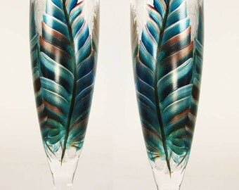Hand Painted Beer Glasses - Original Feather Design, Turquoise Copper Silver Southwest Colors Set of 2 - Mens Beer Glasses Pilsner Beer Gift