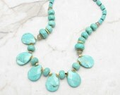 Chunky Turquoise Necklace [Chunky Statement Necklace Turquoise Stone Gold Statement Bib] ISLAND LIFE