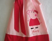 Peppa pig pillowcase dress, birthday party, birthday invitation, gift giving, size 3 months to 6 years old girls