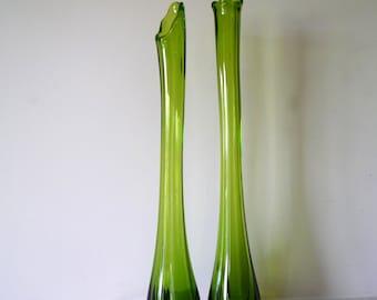 Vintage Green Glass Stretch Vase