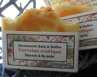 Savon à la soie Verveine exotique, litsea cubeba, handmade soap, silk soap