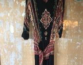 vintage.  Carole Little Boho Black Maxi Dress //  M L