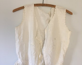 vintage. 1910 Edwardian Vest Top • Cotton Antique Vest