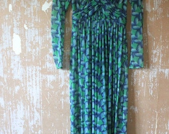 ON SALE vintage. 60s Sheer Blue and Green Rope Print Maxi Dress // XS S
