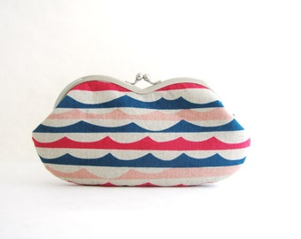 Waves Sunglass Case - Eyeglass Pouch - Glasses Case - Clutch Purse - Womens Purse - Jewelry Purse - Cosmetic Purse - Purse Accessories