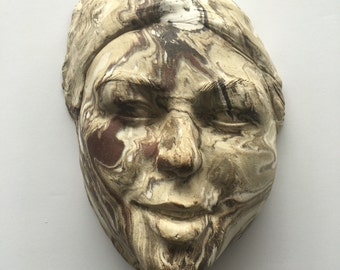 Wall mask face sculpture head, ceramic art portrait of a woman, marbled agateware bust