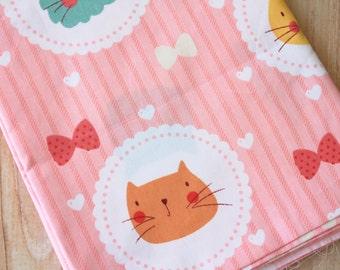 Cats & Bows cartoon kitty print cotton fabric quarter