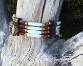 RESERVED for Face, Bone choker with bear paw carved antler fetish brass native american style 4 row black deerskin brick red