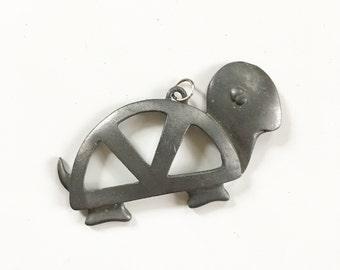Vintage Turtle Pendant, Pewter Turtle , Sleepy Turtle, Peace