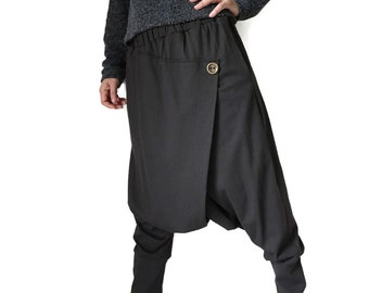 Women Men Pants - Drop Crotch Charcoal Cotton Jersey Pants With 2 Side Pockets And Elastic Waist Band