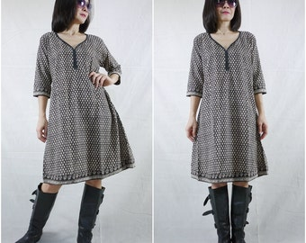 3/4 Sleeve Hand Block Printed Soft V-neck Light Cotton Shirts Blouse Tops Tunics Dress Size 0 To Size 10