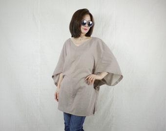 Oversize Boho Casual Elegant 3/4 Sleeve Drop Shoulder V Neck Azo Free Color Light Taupe Brown Light Cotton Blouse Women Top - SM699