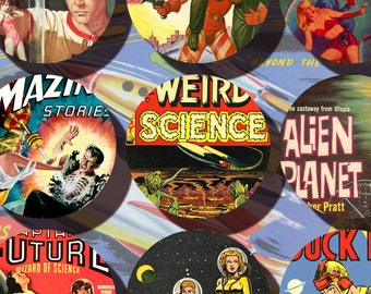 vintage Science Fiction 2.5 inch circles Instant Download Sci Fi digital collage sheet printable pulp fiction n071