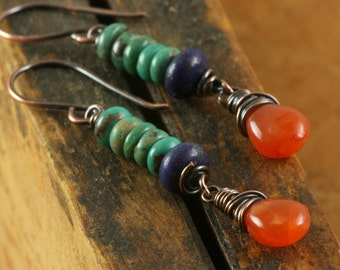 Rustic Green Turquoise Lapis Earrings, Carnelian Earrings, Lapis Lazuli, Copper Wire Wrapped