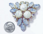 Vintage Blue Givre Art Glass Clear Crystal Rhinestone Brooch Pin HIGH END