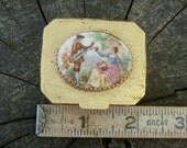 Vintage Pill Box, Couple On Top, Hinged Holder for Small Things, Use in Crafting