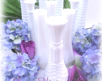 Collection of 10 Vintage Milk Glass Bud Vases Parties, Weddings, Receptions, DISCOUNT Available