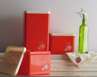MCM style - vintage kitchen decor - canister - red orange and white