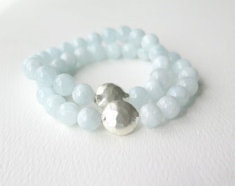 Aquamarine Stacking Bracelet with Hill Tribe Silver / March Birthstone /Boho Chic Stacking Bracelet /Light Baby Blue / Spring Summer Fashion