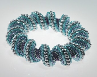 Turquoise and Silver Cellini Spiral Bracelet, Spiral Bracelet, Cuff Bracelet