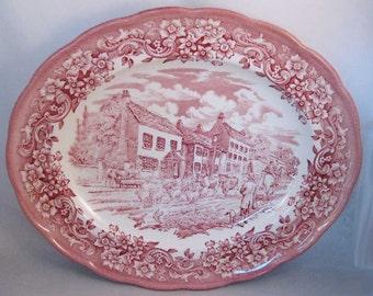 "Ravensdale Pottery LTD Staffordshire England 12"" Oval Serving Platter Scenic"