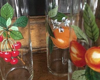 Vintage Fruit patterned Tom Collins Glasses - Set of 3