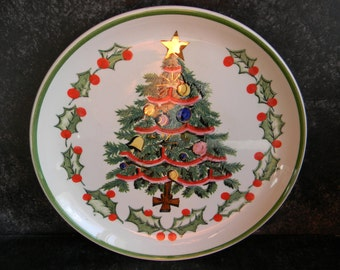 Vintage Holiday Christmas plate decor christmas tree farmhouse chic decorative plates