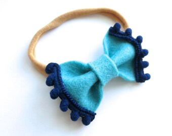 Felt Bow Headband - Pom Pom Trim Mini Bow - Baby Headband - Teal Blue and Navy Blue - Nylon Headband or Hair Clip - Baby Girl Gift