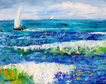 Original oil painting High Seas Sailing abstract palette knife impressionism on canvas fine art by Karen Tarlton