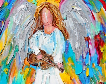 Angel Melody painting original oil 6x6 palette knife impressionism on canvas fine art by Karen Tarlton