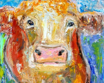 Cow oil painting original abstract palette knife impressionism on canvas fine art by Karen Tarlton