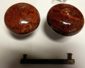 pair of bennington style antique door knobs as is with shaft
