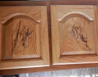 Pair of hand carved oak doors just right for a gun cabinet muzzle loader pheasant, rabbit, grouse, shot gun
