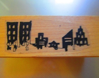 Stamp Wood mounted  CITYSCAPE  new  2x3 inch cardmaking, scrapbooking,  stamping
