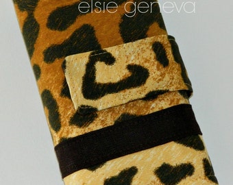 Black Brown and Gold Leopard Print Crochet Hook Case Standard Hooks Clover Soft Grips Polymer Clay Tunisian Organizer Sewn in Zipper Pocket
