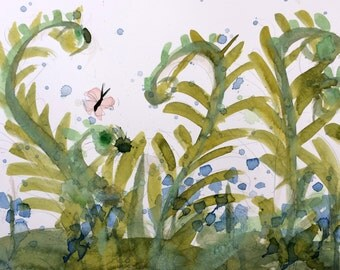 Ferns and Bluebells no. 8 Original Watercolor Painting by Angela Moulton 8 x 10 inch with 11 x 14 white mat