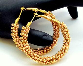 Beaded Hoop Earrings, Gold Boho Wire Wrap Seed Bead Earrings, Hoop Earrings, Gifts for Her Mom Sister Bestie Girlfriend Birthday
