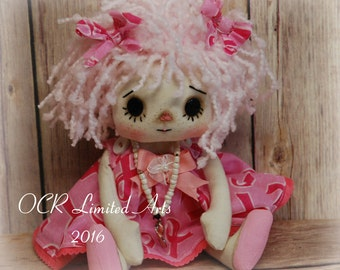 Raggedy HOPE Annie- cute ooak primitive folk art home decor collectable  pink ribbon October
