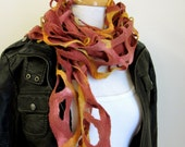 Brown and Gold Wool Felt Scarf - Lacy Wool Stole - Pure Wool Felt - Australia