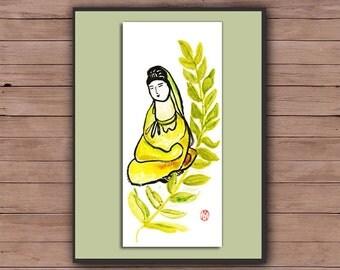 Zen Godess Buddha Painting, Kanzeon, Kannon, Kuan Yin, Fine Zen Art, ink brush Painting, zen decor, spiritual illustration, yoga taoist art
