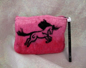 Horse Needle felted wristlet clutch bag