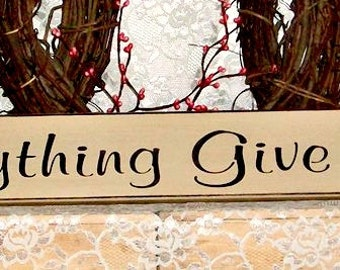 In Everything Give Thanks - Primitive Country Painted Wall Sign, Country Decor, Inspirational Sign, Inspirational Decor, Holiday Decor