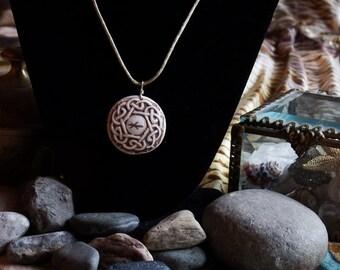 Handmade, relief carved porcelain Celtic knot pendant/necklace
