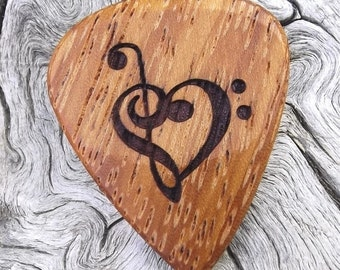 Wood Guitar Pick - Premium Quality - Handmade With African Doussie - Laser Engraved Both Sides - Actual Pick Shown - Artisan Guitar Pick