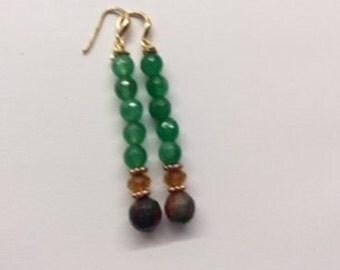 Green and Carnelian Agate Earrings